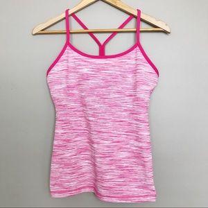 Lululemon Power Pink Stripe Y Back Tank Top
